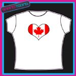 CANADA FLAG HEART SHAPED I LOVE T-SHIRT ALL SIZES